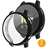 Tensea Compatible with Galaxy Watch Active2 Case, 2 Packs Soft TPU Bumper Full Around Screen Protector Cover for Samsung Galaxy Watch Active 2 40mm (Black, 44mm)