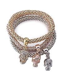 BEMI Popular 3PCS Gold/Silver/Rose Gold Corn Chain Zircon Charms Multilayer Stretch Bracelets Womens