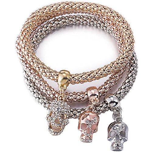 Head Custom Bracelets (BEMI Popular 3PCS Gold/Silver/Rose Gold Corn Chain Zircon Charms Multilayer Stretch Bracelets for Womens Skull head)