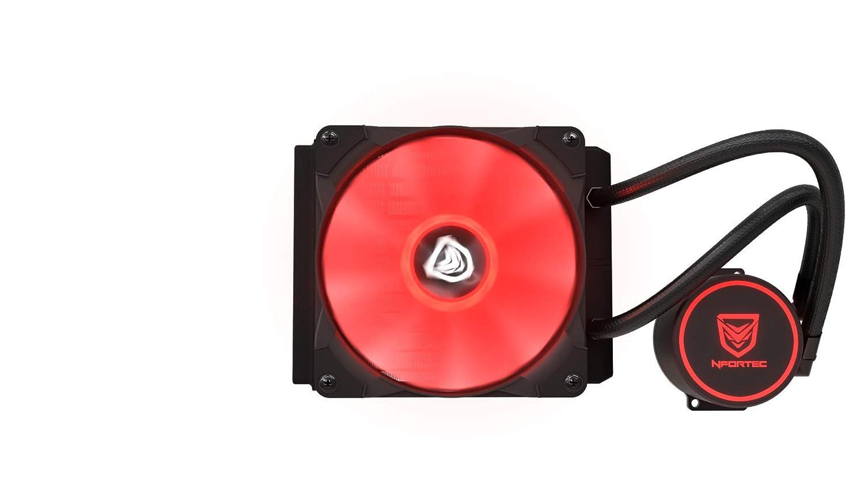 Nfortec Hydrus V2 Refrigeraci/ón L/íquida 120mm con Ventilador LED Red de 120mm Color Rojo Compatible con AMD e Intel