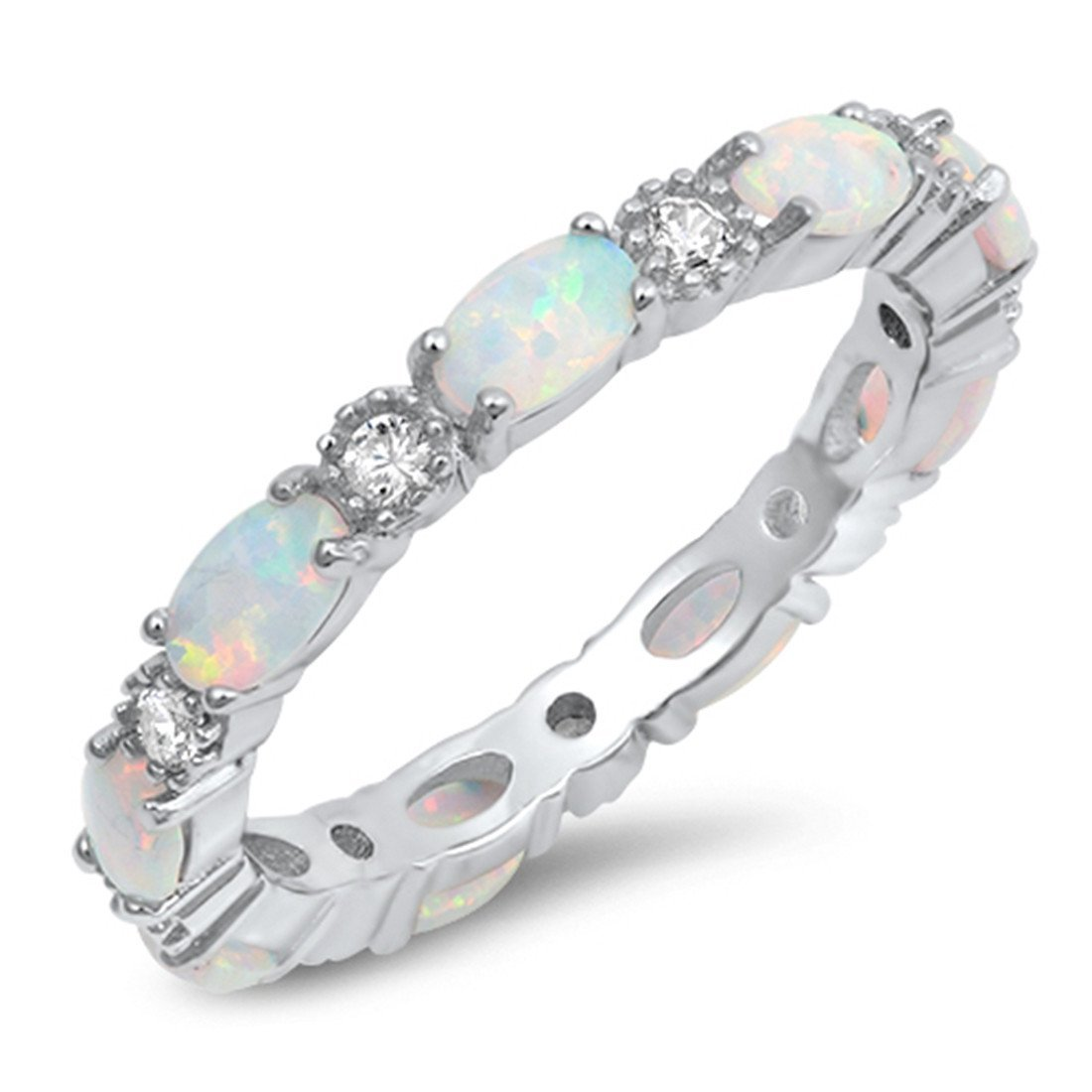 4mm Full Eternity Stackable Band Ring Oval Created White Opal Round CZ 925 Sterling Silver, Size-7