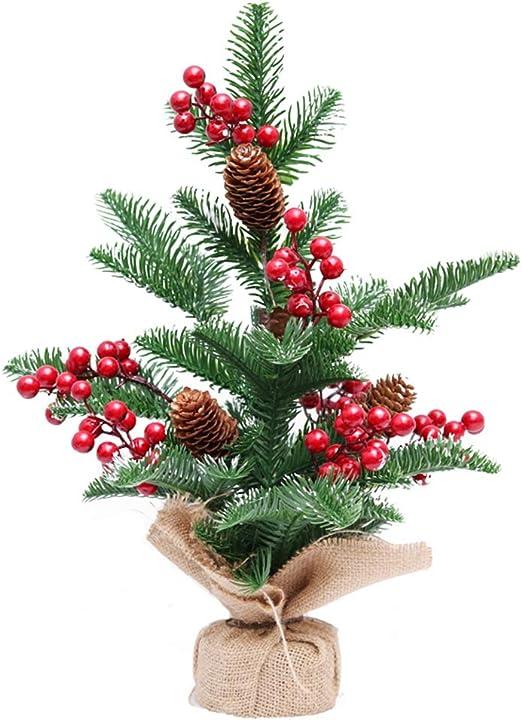 Firlar Mini Árbol de Navidad Artificial de Pino con Agujas de Mesa, pequeño árbol de Navidad con piñas Rojas, Madera, Árbol de Navidad2, 42 * 26cm: Amazon.es: Hogar