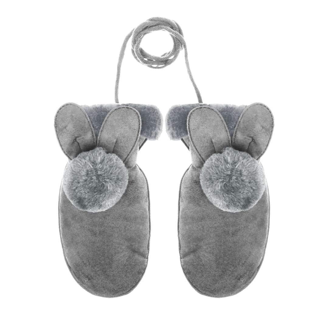 Kids Toddler Winter Warm Gloves Boys Girls Cute Thick Thermal Gloves Furry Velvet Lined Full-finger Hanging Neck Mittens Outdoor Hand Wear