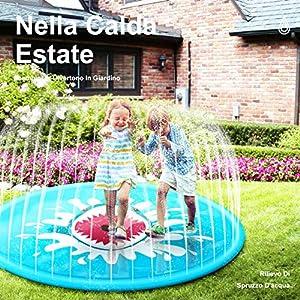 StillCool Tappetino Gioco d'Acqua per Bambini 67in/170cm Sprinklers Pad Portatile Giocattoli Water Sprinkle Splash… 5 spesavip