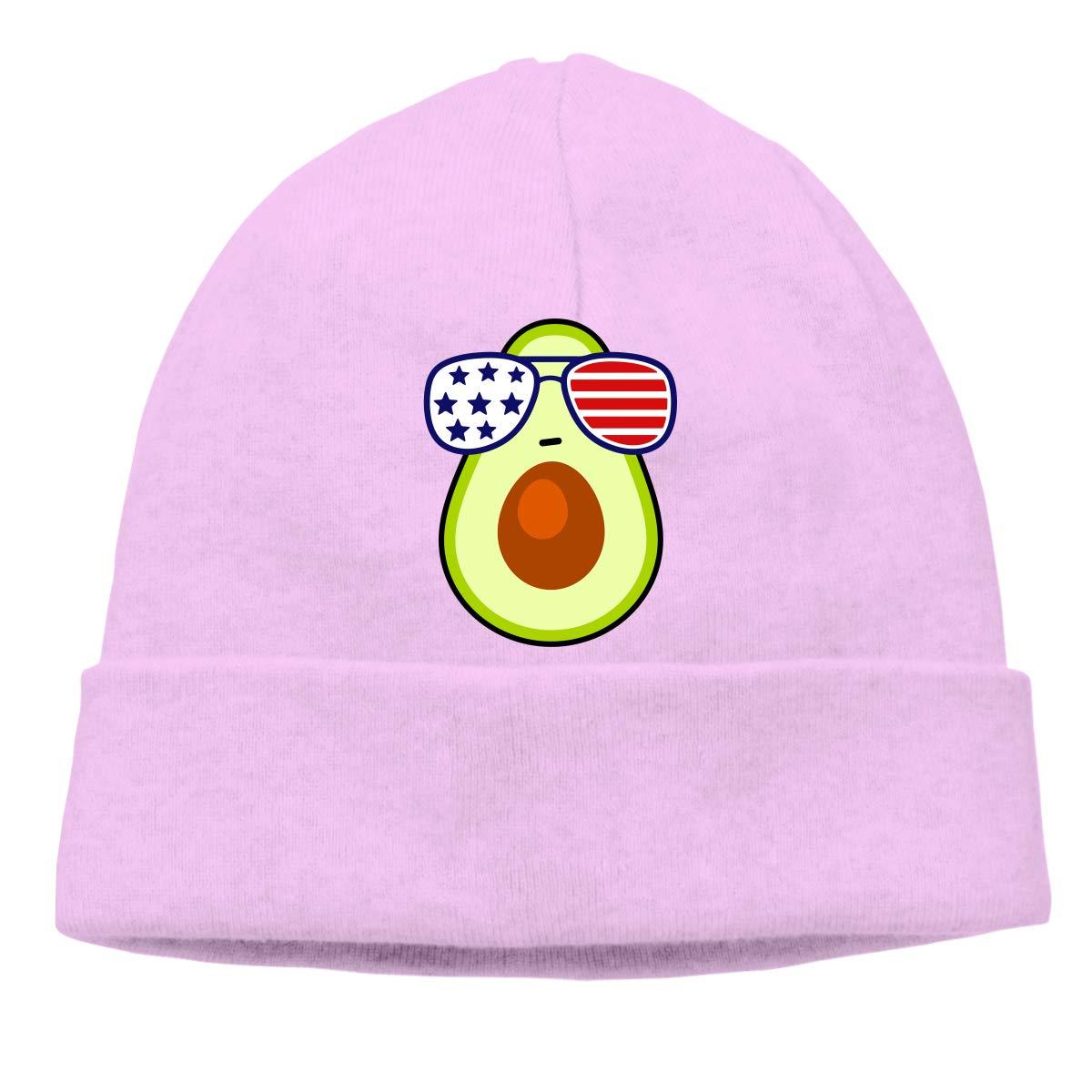 Beanie Hat America Flag Glasses Avocado Warm Skull Caps for Men and Women