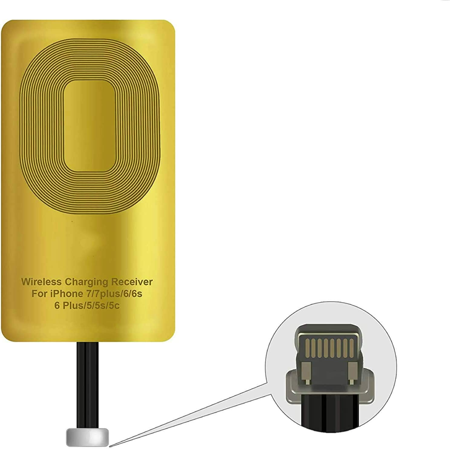 Ultra Thin Qi Receiver Chip Compatible with All Wireless Chargers Qi Receiver Wireless Charging, Qi Wireless Receiver for iPhone 7/7 Plus / 6/6 Plus / 6S / 6S Plus / 5 / 5S / 5C