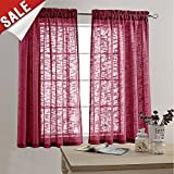 63 inch curtains 2 panel - jinchan Linen Textured Sheer Curtains for Bedroom Curtain 63 inches Long Rod Pocket Window Curtain for Living Room (2 Panels, Burgundy)