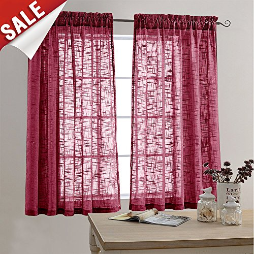 Linen Textured Sheer Curtains for Bedroom Curtain 63 inches Long Rod Pocket Window Curtain for Living Room (2 Panels, Burgundy)