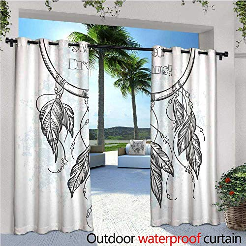 (Sweet Dreams Outdoor Privacy Curtain for Pergola Doodle Hand Drawn Dream Catcher Ethnic Aztec Culture Inspired Design Thermal Insulated Water Repellent Drape for Balcony W120