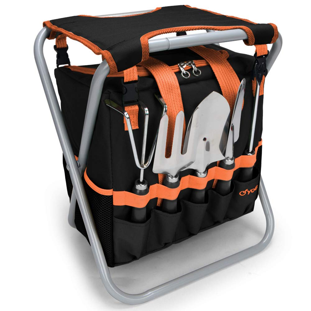 yodo 7 Piece Garden Tools Set for Men & Women - Heavy Duty Folding Stool Tote Bag and Stainless Steel Gardening Tools Includes Trowel Rake Cultivator Weeder, Great Gift for Gardeners