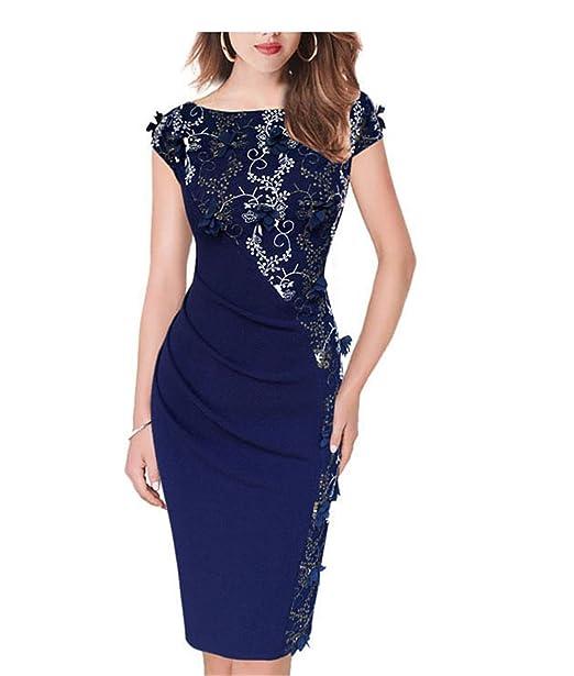 Vestidos Evening Special Occasion Sheath Pencil Bodycon Dress 391 Blue S