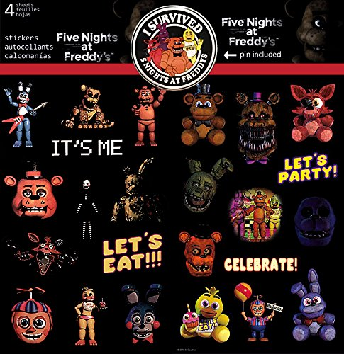 [Five Nights at Freddy's FNAF Nightmare Shadow Toy Plush 48 Stickers and Pin Button Set Featuring Chica, Cupcake, Bonnie, Foxy, Golden Freddy &] (Fnaf Bonnie Costume)
