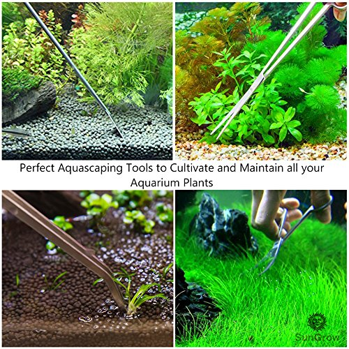 Aquarium Tool Kit (5pcs) by SunGrow -- Perfect Aquascaping Tools - Includes Straight & Curved Scissors, Substrate Spatula, Straight & Bent Tweezers - Stainless Steel - No Rust - Convenient Operation