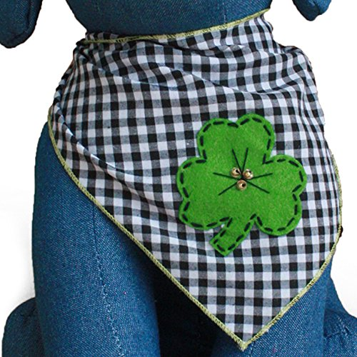 Tail Trends St. Patricks Day Dog Bandanas with Four Leaf Clover Designer Applique for Medium to Large Sized Dogs - 100% Cotton (M)