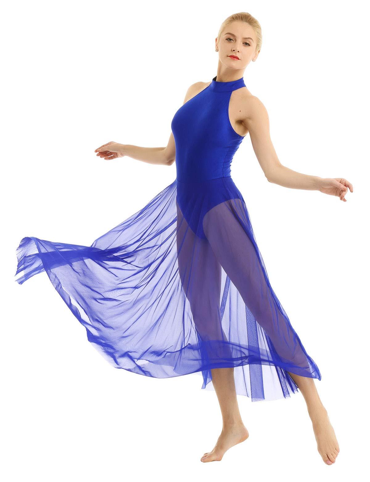 Yeahdor Womens Lyrical Ballet Dance Dress Modern Asymmetric Chiffon High-Low Midi Skirt Sweetheart Dresses