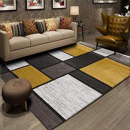 floormatjing grand tapis de salon et de chambre a coucher motif geometrique tendance jaune moutarde gris blanc patchwork tapis doux au toucher 200 x