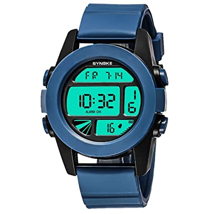 Logobeing Multi-Función 50M Impermeable Reloj LED Digital Doble Acción Reloj (Azul)