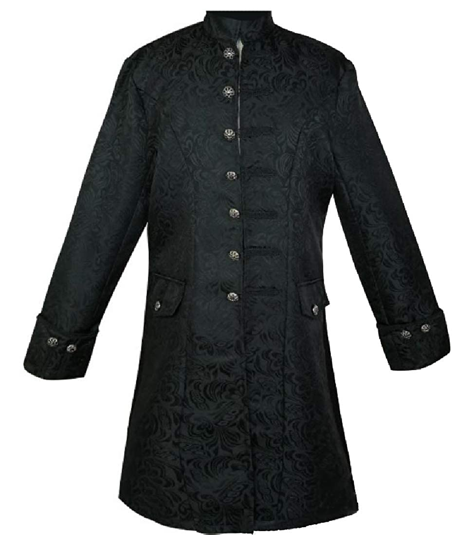 Winwinus Mens Utility Mid Long Renaissance Embroidered Trench Coat