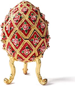 Furuida Faberge Egg Style Diamond Flower Enamel Jewelry Trinket Box Hinged Victorian Ornaments Gift for Home Decor (Red)