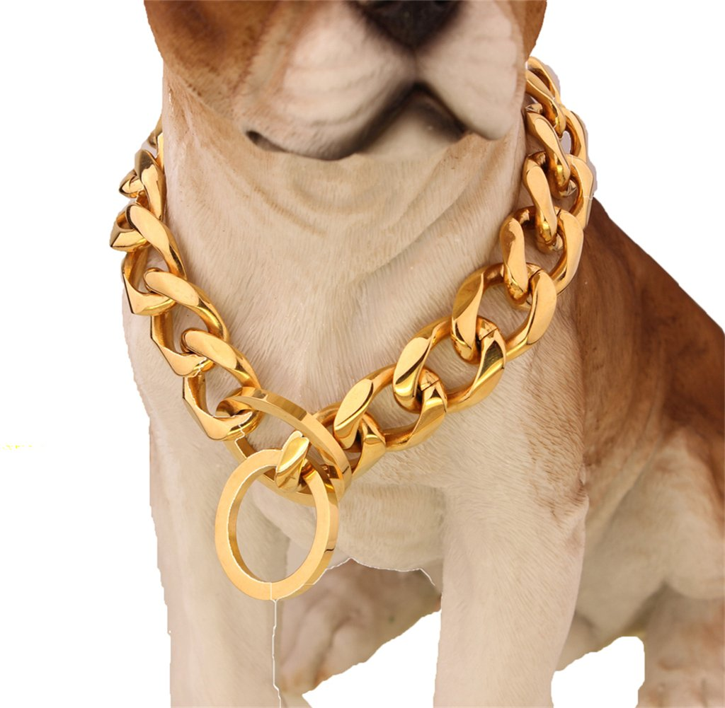 Custom Ultra Strong 19MM Slip Chain Dog Collar - For Pit Bull Mastiff Bulldog Big Breeds by W&W Lifetime