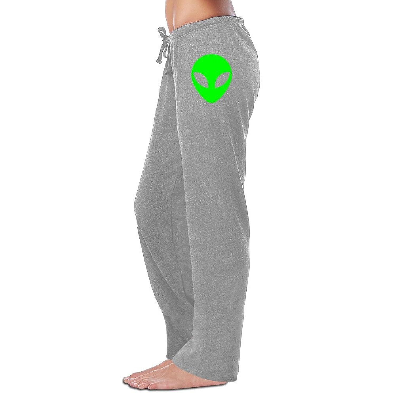 Yesher Women's Green Alien Head UFO Cartoon ET Long Sports Pants - Black