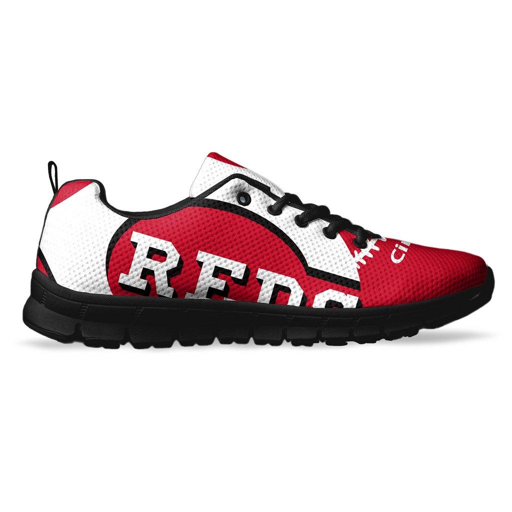 AllAmbitions Men's Cincinnati Baseball Custom Fan Made Running/Athletic Sneakers B07B612T52 7 D(M) US Black