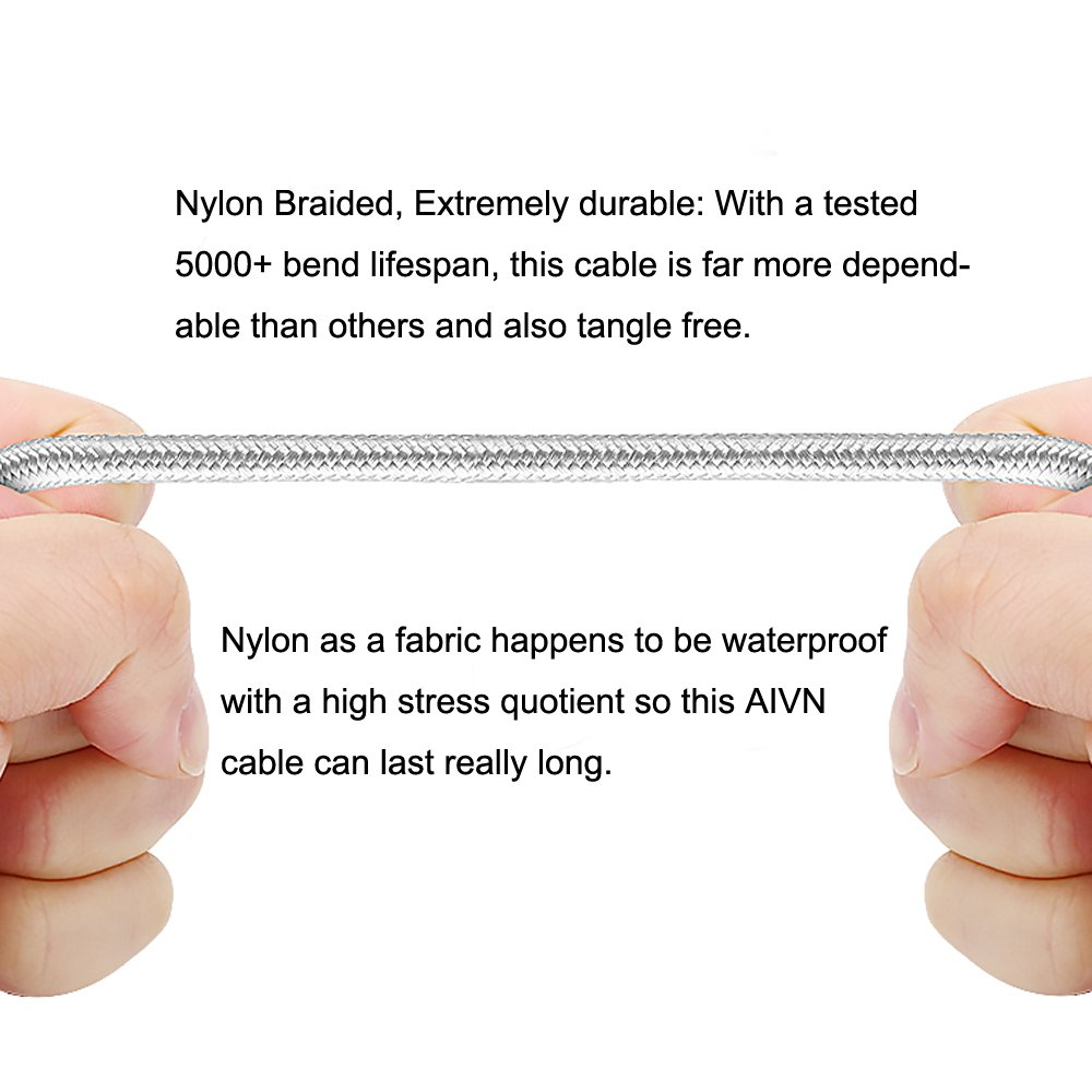 Amazon.com: AIVN USB 3.1 Braided Type C Cable Fast Charging, Wrapped ...