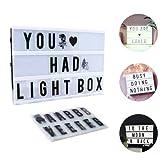 Lumineuse Boite A4, CrazyFire LED Cinema Lumineuse avec 104 Lettres, 85 Symboles Coloré Légère Boite, Enseigne Lumineuse pour Décorer Anniversaire/Famille/Boutique