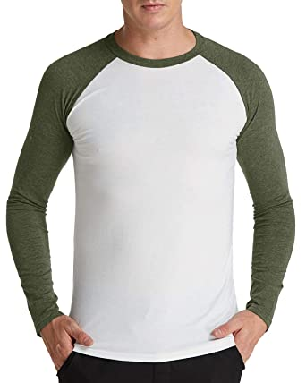 22fedb9d MODCHOK Men's Shirt Long Sleeve Undershirt Raglan Baseball Contrast Color  T-Shirt Jersey Crew Neck