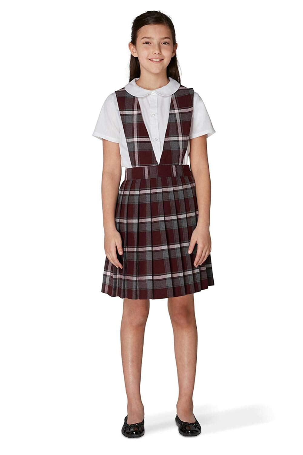 French Toast V-Neck Pleated Plaid Jumper(Toddler Size) French Toast School Uniforms 1047Q BRGP 4T
