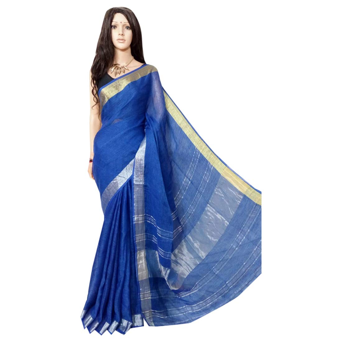 Indian Saree Ethnic bluee Pure Linen Jamdani Handloom Sari Designer Collection Sari Party Formal Women Wear 109a