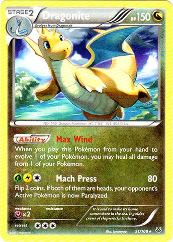 Dragonite Pokemon Card - Pokemon - Dragonite (51/108) - XY Roaring Skies