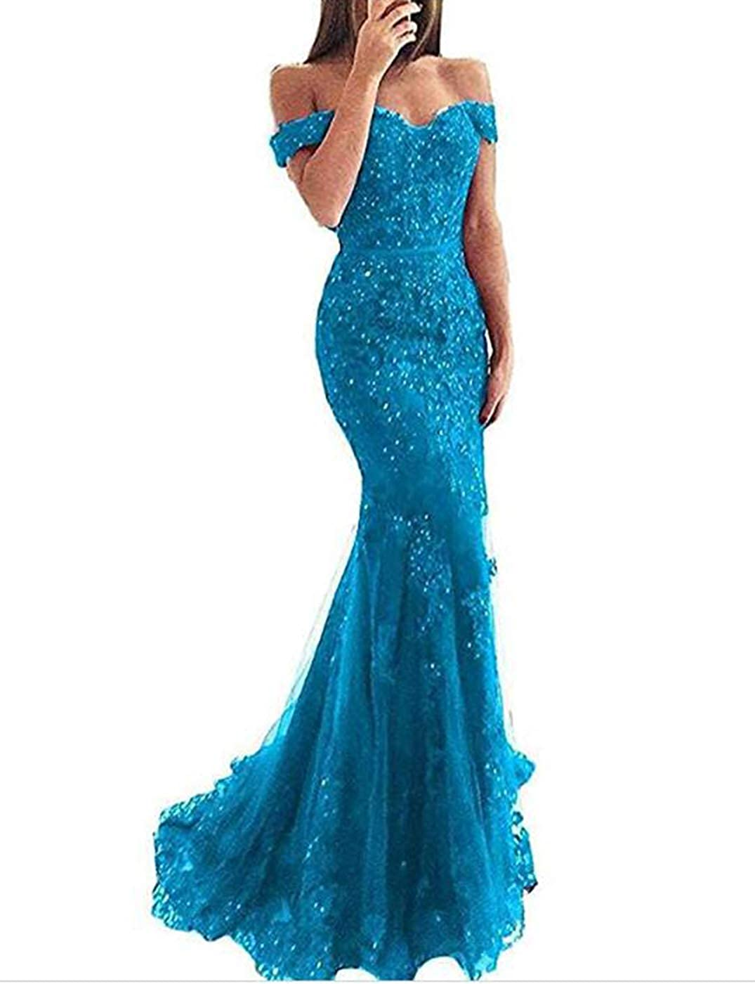 bluee Alicebridal Women's Sexy V Neck Off Shoulder Mermaid Prom Dresses Lace Appliques Formal Evening Party Gowns