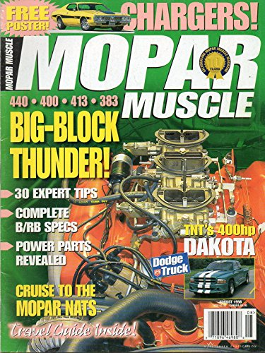 - Mopar Muscle August 1998 Magazine BIG-BLOCK THUNDER Cruise To The Mopar Nats. TNT's 400hp DAKOTA New Stuff For Your Ram or Dakota