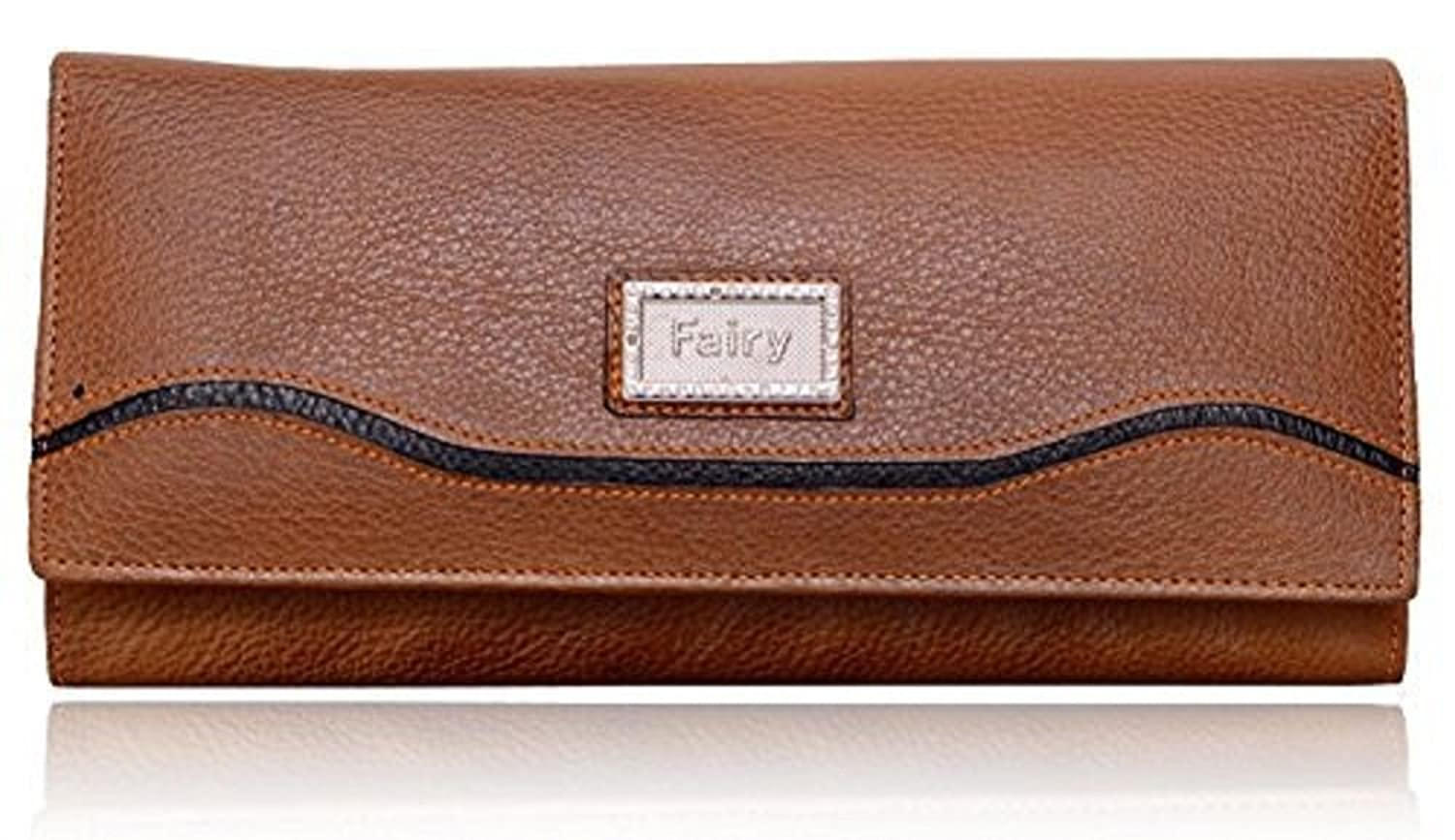 Yark Genuine Leather Ladies Big Size Hand Wallet With 7 Cards Slot (8013-Tan)