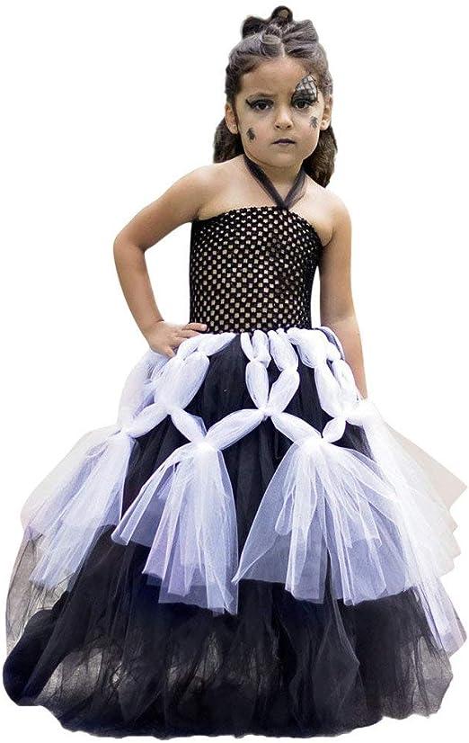 Riou Disfraz de Halloween para niña, Disfraz de Bruja sin Mangas ...