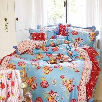 Pip Bettwäsche Flower Confetti Blau Größe135x200 Cm 80x80 Cm