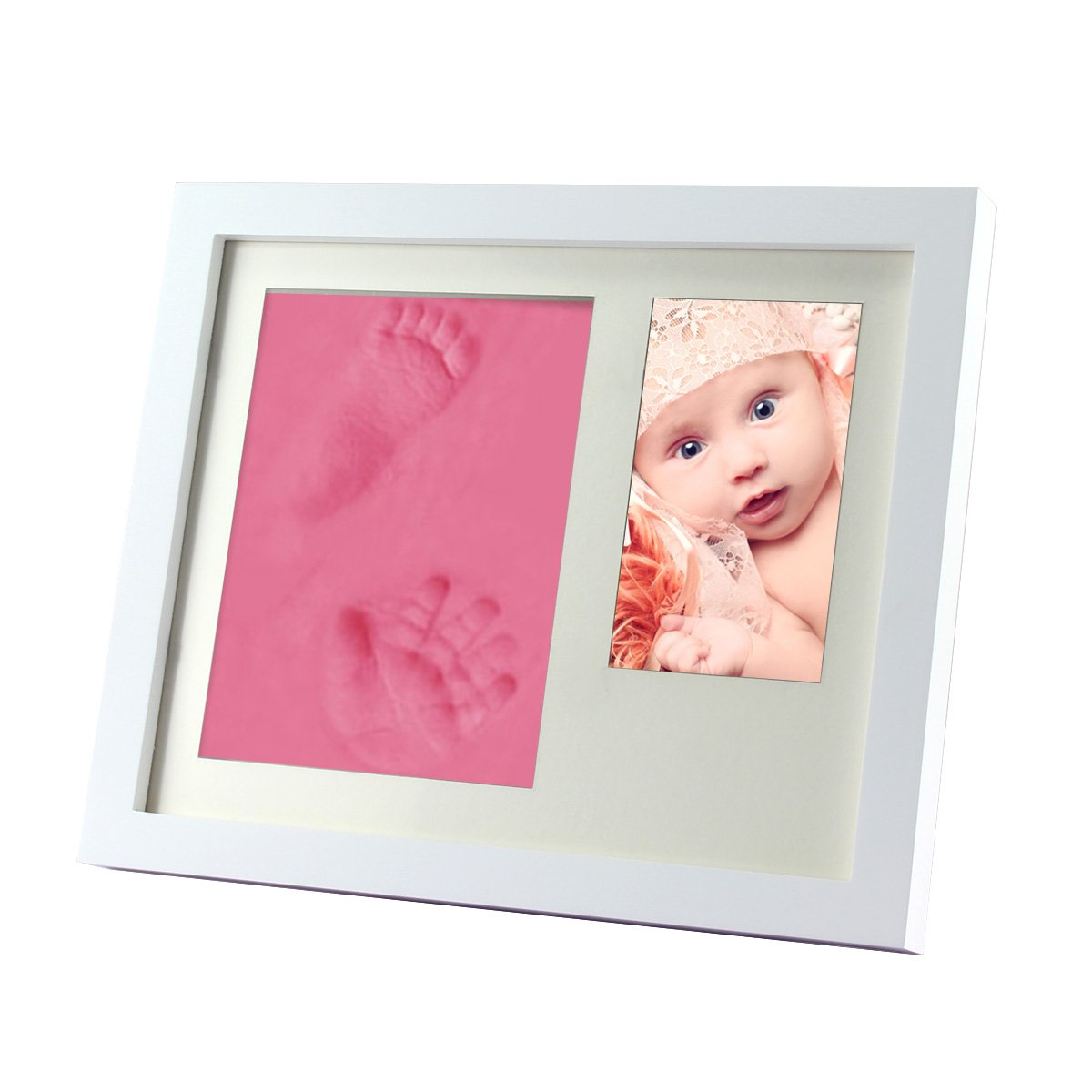 Gembaby Charming Baby Handprint & Footprint Desktop Picture Frame Package, Non Toxic and Child Safe Clay, Unique Gift Idea and Keepsake (White)
