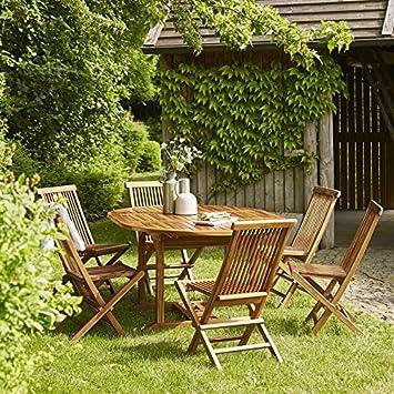 Salon de Jardin en Bois de Teck 6 à 8 Places: Amazon.fr: Jardin