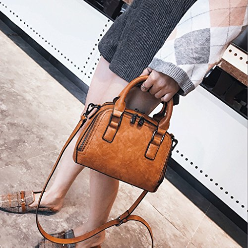 Borsa a Messenger Brown GuoFeng Handbag New Retro Simple Wild Brown Colore Bag tracolla atmosferica nWnxw7