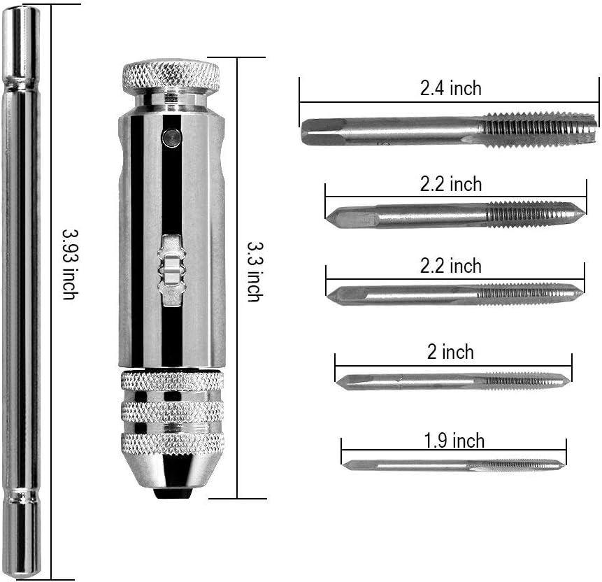 Screw Tap Set,Ajustable HSS Llave de Grifo de T Tipo Forma T Llave de Trinquete con 5 Tama/ños Manual Rrosca de Rosca M3-M8 3mm-8mm