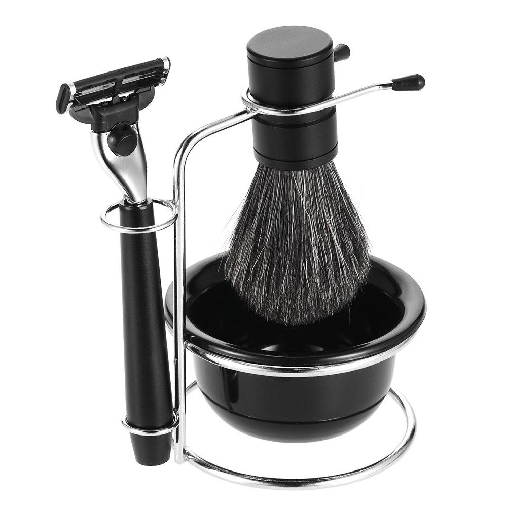 Anself 4 in 1 Men's Shaving Razor Set Badger Shaving Brush + Shaving Stand + Shaving Soap Bowl + Razor Male Facial Shaving & Cleaning Tool