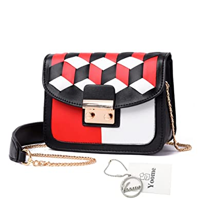 4818a32319c2 Amazon.com  Yoome Woven Contrast Color Chain Bag Girls Bags And Purses For  Teens Satchel Handbags For Women  Shoes