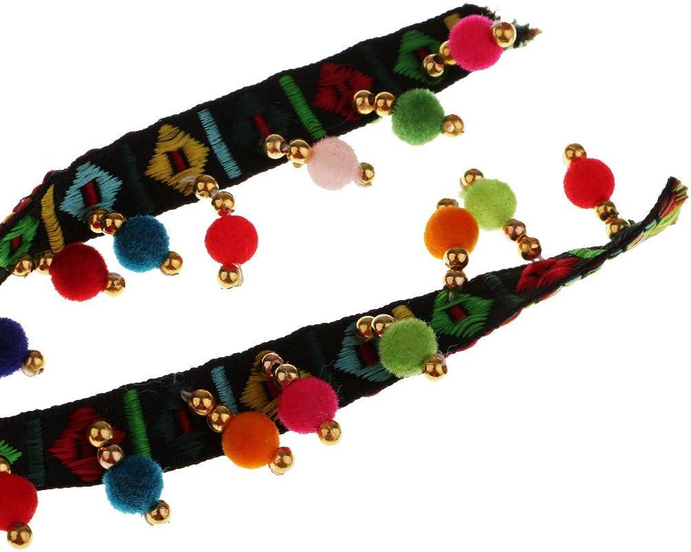 Baoblaze 1 Yard Rainbow Color Ethnic Tassel Ribbon Fringe Trim Pom Pom Bobble Lace Colored Trims Ribbon DIY Sewing Crafts Black