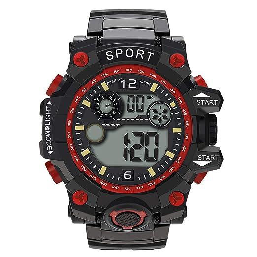 Dylung Reloj para Hombre Deportivo Reloj de Pulsera Inteligente Digital Relojes de Chicos Cuarzo japonés Multifunciónal LED Resistente al Agua Cronómetro ...