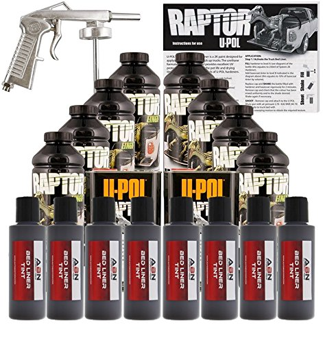 U-Pol Raptor Dakota Brown Urethane Spray-On Truck Bed Liner Kit w/Free Spray Gun, 8 Liters