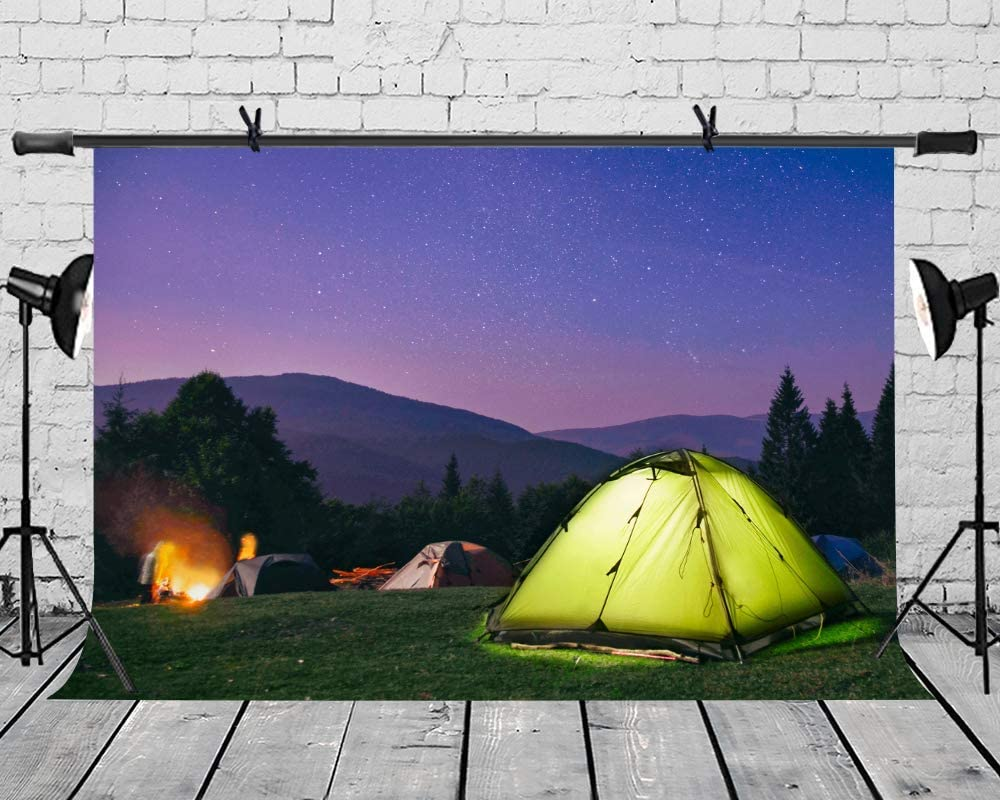 10x8ft Vinyl Camping Trip Backdrop Starry Night Bonfire Background Summer Outdoor Leisure Birthday Party Photograph Props Photo Studio LYLS1140 for Party Decoration Birthday YouTube Videos School Phot