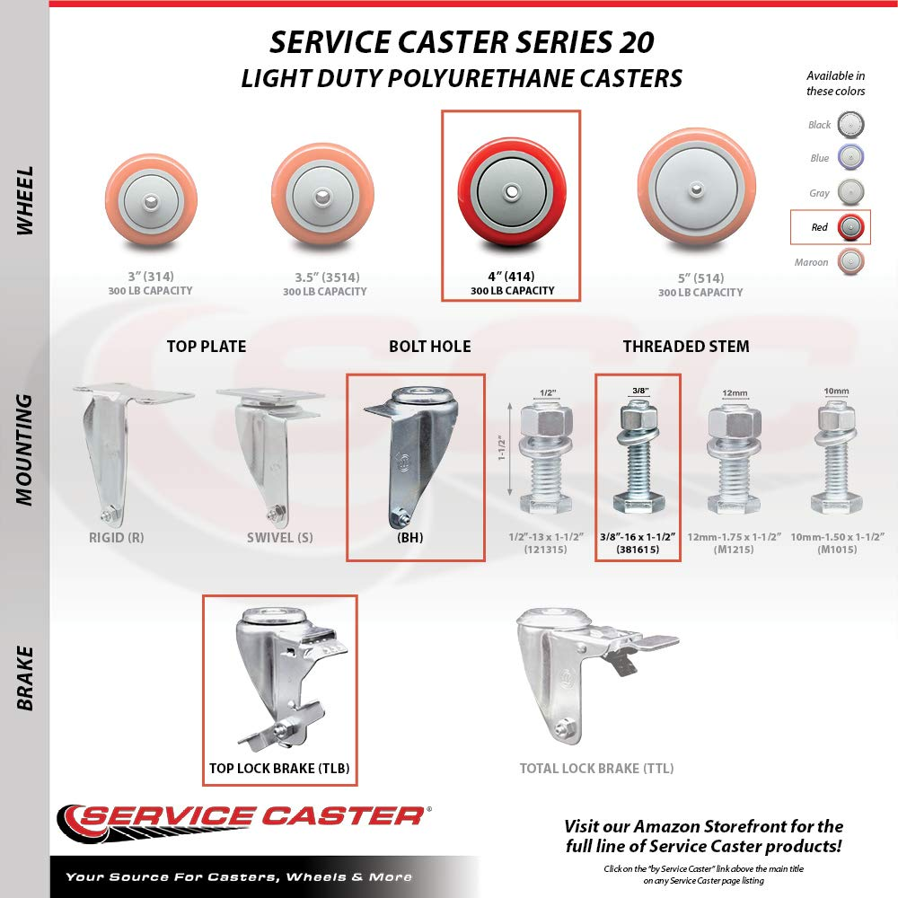 1200 lbs Total Capacity Service Caster Brand Includes 2 with Top Locking Brake Red Polyurethane Swivel Threaded Stem Caster Set of 4 w//4 x 1.25 Wheels and 3//8 Stems