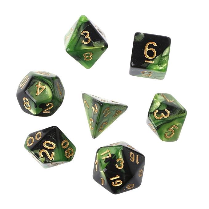 Richi 7pcs//set Acr/ílico Polyhedral dados para trpg Junta Juego MAZMORRAS y dragones D4-D20