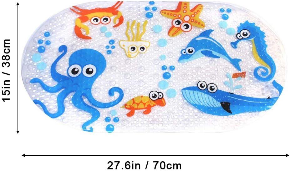 Cartoon Bath Mat Shower Mat for Kids Toddler Safety Bathroom Bathtub Mat with Suction Cups,Environmental PVC,Square,70 x 38 cm iSagax Baby Bath Mats Non Slip Anti Mould